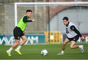 18 November 2019; Danny Grant and Corey O'Keefe during a Republic of Ireland U21's squad training session at Tallaght Stadium in Dublin. Photo by Harry Murphy/Sportsfile