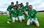 18 November 2019; Anselmo Garcia McNulty, 5, celebrates with his Republic of Ireland team-mates after scoring his side's second goal during the UEFA Under-17 European Championship Qualifier match between Republic of Ireland and Israel at Turner's Cross in Cork. Photo by Piaras Ó Mídheach/Sportsfile