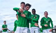 18 November 2019; Sinclair Armstrong, 7, celebrates after scoring his side's third goal with his Republic of Ireland team-mates, from left, Oran Crowe, Anselmo Garcia McNulty, Ben McCormack, Oliver O'Neill, and Oisín Hand during the UEFA Under-17 European Championship Qualifier match between Republic of Ireland and Israel at Turner's Cross in Cork. Photo by Piaras Ó Mídheach/Sportsfile