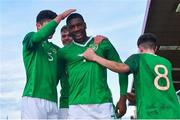 18 November 2019; Sinclair Armstrong, centre, celebrates after scoring his side's third goal with his Republic of Ireland team-mates, from left, Anselmo Garcia McNulty, Evan Ferguson, and Colin Conroy during the UEFA Under-17 European Championship Qualifier match between Republic of Ireland and Israel at Turner's Cross in Cork. Photo by Piaras Ó Mídheach/Sportsfile