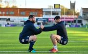 18 November 2019; Michael Bent, left, and Robbie Henshaw during Leinster Rugby squad training at Energia Park in Donnybrook, Dublin. Photo by Brendan Moran/Sportsfile