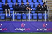 18 November 2019; Leinster players, from left, Devin Toner, James Lowe, Dave Kearney, Rhys Ruddock, Jordan Larmour and Joe Tomane look on during squad training at Energia Park in Donnybrook, Dublin. Photo by Brendan Moran/Sportsfile