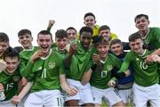 18 November 2019; Republic of Ireland players celebrate after the UEFA Under-17 European Championship Qualifier match between Republic of Ireland and Israel at Turner's Cross in Cork. Photo by Piaras Ó Mídheach/Sportsfile
