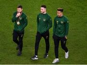 18 November 2019; Alan Judge left, with Alan Browne and Callum Robinson of Republic of Ireland prior to the UEFA EURO2020 Qualifier match between Republic of Ireland and Denmark at the Aviva Stadium in Dublin. Photo by Ben McShane/Sportsfile