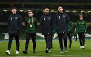 18 November 2019; Players, from left, Callum O'Dowda, Josh Cullen, David McGoldrick, Richard Keogh, and Callum Robinson of Republic of Ireland prior to the UEFA EURO2020 Qualifier match between Republic of Ireland and Denmark at the Aviva Stadium in Dublin. Photo by Stephen McCarthy/Sportsfile