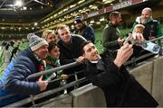 18 November 2019; Former Republic of Ireland International Stephen Ward with supporters prior to the UEFA EURO2020 Qualifier match between Republic of Ireland and Denmark at the Aviva Stadium in Dublin. Photo by Stephen McCarthy/Sportsfile