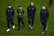 18 November 2019; Players, from left, Callum O'Dowda, Josh Cullen, David McGoldrick, and Richard Keogh of Republic of Ireland prior to the UEFA EURO2020 Qualifier match between Republic of Ireland and Denmark at the Aviva Stadium in Dublin. Photo by Ben McShane/Sportsfile