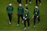 18 November 2019; Players, from left, Jack Byrne, Troy Parrott, Robbie Brady and Sean Maguire of Republic of Ireland prior to the UEFA EURO2020 Qualifier match between Republic of Ireland and Denmark at the Aviva Stadium in Dublin. Photo by Ben McShane/Sportsfile