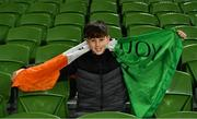 18 November 2019; Luke Harris-Kotras, age 11, from Wexford, during the UEFA EURO2020 Qualifier match between Republic of Ireland and Denmark at the Aviva Stadium in Dublin. Photo by Eóin Noonan/Sportsfile