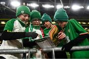 18 November 2019; Republic of Ireland supporters, from left, Daragh Connors, 11, Ronan Connors, 9, from Kilmihil, Clare, Daniel Grogan, 11, and Mathew Grogan, 10, from Allen Kildare, prior to the UEFA EURO2020 Qualifier match between Republic of Ireland and Denmark at the Aviva Stadium in Dublin. Photo by Eóin Noonan/Sportsfile