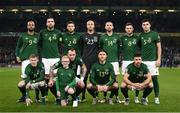 18 November 2019; The Republic of Ireland team, back row, from left to right, David McGoldrick, Shane Duffy, Matt Doherty, Darren Randolph, Conor Hourihane, Alan Browne and John Egan. Front row, from left to right, James McClean, Glenn Whelan, Jeff Hendrick and Enda Stevens prior to the UEFA EURO2020 Qualifier match between Republic of Ireland and Denmark at the Aviva Stadium in Dublin. Photo by Stephen McCarthy/Sportsfile