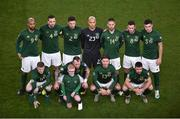 18 November 2019; The Republic of Ireland team, back row, from left to right, David McGoldrick, Shane Duffy, Matt Doherty, Darren Randolph, Conor Hourihane, Alan Browne and John Egan. Front row, from left to right, James McClean, Glenn Whelan, Jeff Hendrick and Enda Stevens prior to the UEFA EURO2020 Qualifier match between Republic of Ireland and Denmark at the Aviva Stadium in Dublin. Photo by Ben McShane/Sportsfile