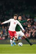 18 November 2019; Lasse Schöne of Denmark in action against David McGoldrick of Republic of Ireland during the UEFA EURO2020 Qualifier match between Republic of Ireland and Denmark at the Aviva Stadium in Dublin. Photo by Harry Murphy/Sportsfile