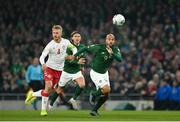 18 November 2019; David McGoldrick of Republic of Ireland in action against Simon Kjær of Denmark during the UEFA EURO2020 Qualifier match between Republic of Ireland and Denmark at the Aviva Stadium in Dublin. Photo by Seb Daly/Sportsfile