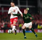 18 November 2019; Henrik Dalsgaard of Denmark in action against James McClean of Republic of Ireland during the UEFA EURO2020 Qualifier match between Republic of Ireland and Denmark at the Aviva Stadium in Dublin. Photo by Harry Murphy/Sportsfile