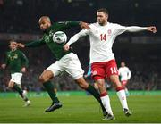 18 November 2019; David McGoldrick of Republic of Ireland in action against Henrik Dalsgaard of Denmark during the UEFA EURO2020 Qualifier match between Republic of Ireland and Denmark at the Aviva Stadium in Dublin. Photo by Stephen McCarthy/Sportsfile