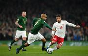 18 November 2019; David McGoldrick of Republic of Ireland in action against Lasse Schöne of Denmark during the UEFA EURO2020 Qualifier match between Republic of Ireland and Denmark at the Aviva Stadium in Dublin. Photo by Seb Daly/Sportsfile