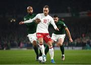 18 November 2019; Christian Eriksen of Denmark in action against David McGoldrick and Enda Stevens of Republic of Ireland during the UEFA EURO2020 Qualifier match between Republic of Ireland and Denmark at the Aviva Stadium in Dublin. Photo by Stephen McCarthy/Sportsfile