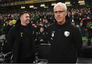 18 November 2019; Republic of Ireland manager Mick McCarthy, right and assistant coach Robbie Keane prior to the UEFA EURO2020 Qualifier match between Republic of Ireland and Denmark at the Aviva Stadium in Dublin. Photo by Stephen McCarthy/Sportsfile
