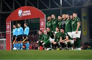 18 November 2019; The Republic of Ireland team, back row, from left to right, David McGoldrick, Shane Duffy, Matt Doherty, Darren Randolph, Conor Hourihane, Alan Browne and John Egan. Front row, from left to right, James McClean, Glenn Whelan, Jeff Hendrick and Enda Stevens prior to the UEFA EURO2020 Qualifier match between Republic of Ireland and Denmark at the Aviva Stadium in Dublin. Photo by Harry Murphy/Sportsfile