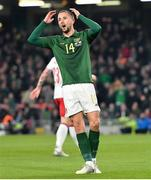 18 November 2019; Conor Hourihane of Republic of Ireland reacts after a missed goal opportunity during the UEFA EURO2020 Qualifier match between Republic of Ireland and Denmark at the Aviva Stadium in Dublin. Photo by Seb Daly/Sportsfile