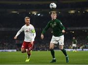 18 November 2019; James McClean of Republic of Ireland in action against Simon Kjær of Denmark during the UEFA EURO2020 Qualifier match between Republic of Ireland and Denmark at the Aviva Stadium in Dublin. Photo by Stephen McCarthy/Sportsfile