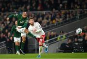 18 November 2019; David McGoldrick of Republic of Ireland takes a shot under pressure from Lasse Schöne of Denmark during the UEFA EURO2020 Qualifier match between Republic of Ireland and Denmark at the Aviva Stadium in Dublin. Photo by Seb Daly/Sportsfile