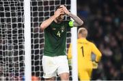 18 November 2019; Shane Duffy of Republic of Ireland reacts after a missed chance on goal during the UEFA EURO2020 Qualifier match between Republic of Ireland and Denmark at the Aviva Stadium in Dublin. Photo by Stephen McCarthy/Sportsfile