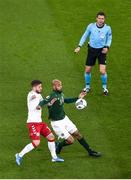 18 November 2019; David McGoldrick of Republic of Ireland in action against Lasse Schöne of Denmark during the UEFA EURO2020 Qualifier match between Republic of Ireland and Denmark at the Aviva Stadium in Dublin. Photo by Ben McShane/Sportsfile