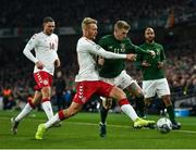 18 November 2019; James McClean of Republic of Ireland in action against Simon Kjær during the UEFA EURO2020 Qualifier match between Republic of Ireland and Denmark at the Aviva Stadium in Dublin. Photo by Eóin Noonan/Sportsfile