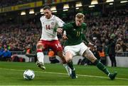 18 November 2019; James McClean of Republic of Ireland in action against Henrik Dalsgaard of Denmark during the UEFA EURO2020 Qualifier match between Republic of Ireland and Denmark at the Aviva Stadium in Dublin. Photo by Eóin Noonan/Sportsfile