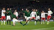 18 November 2019; James McClean, left, and Ciaran Clark of Republic of Ireland have a chance on goal during the UEFA EURO2020 Qualifier match between Republic of Ireland and Denmark at the Aviva Stadium in Dublin. Photo by Stephen McCarthy/Sportsfile