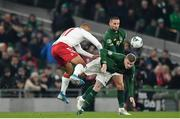 18 November 2019; James McClean of Republic of Ireland in action against Martin Braithwaite of Denmark during the UEFA EURO2020 Qualifier match between Republic of Ireland and Denmark at the Aviva Stadium in Dublin. Photo by Seb Daly/Sportsfile