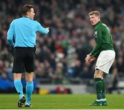 18 November 2019; James McClean of Republic of Ireland reacts after a free kick is awarded to Denmark against him by referee Felix Brych during the UEFA EURO2020 Qualifier match between Republic of Ireland and Denmark at the Aviva Stadium in Dublin. Photo by Seb Daly/Sportsfile