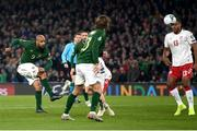 18 November 2019; David McGoldrick of Republic of Ireland has a shot on goal during the UEFA EURO2020 Qualifier match between Republic of Ireland and Denmark at the Aviva Stadium in Dublin. Photo by Stephen McCarthy/Sportsfile