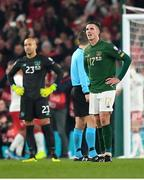 18 November 2019; Ciaran Clark of Republic of Ireland reacts after his side conceded a goal during the UEFA EURO2020 Qualifier match between Republic of Ireland and Denmark at the Aviva Stadium in Dublin. Photo by Seb Daly/Sportsfile