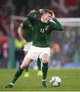 18 November 2019; James McClean of Republic of Ireland reacts during the UEFA EURO2020 Qualifier match between Republic of Ireland and Denmark at the Aviva Stadium in Dublin. Photo by Stephen McCarthy/Sportsfile