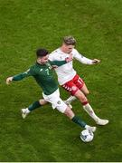 18 November 2019; Sean Maguire of Republic of Ireland in action against Jens Stryger Larsen of Denmark during the UEFA EURO2020 Qualifier match between Republic of Ireland and Denmark at the Aviva Stadium in Dublin. Photo by Ben McShane/Sportsfile