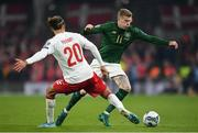 18 November 2019; James McClean of Republic of Ireland in action against Yussuf Poulsen of Denmark during the UEFA EURO2020 Qualifier match between Republic of Ireland and Denmark at the Aviva Stadium in Dublin. Photo by Seb Daly/Sportsfile