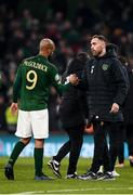 18 November 2019; Richard Keogh, right, with David McGoldrick of Republic of Ireland following the UEFA EURO2020 Qualifier match between Republic of Ireland and Denmark at the Aviva Stadium in Dublin. Photo by Harry Murphy/Sportsfile