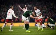 18 November 2019; Shane Duffy of Republic of Ireland reacts after the UEFA EURO2020 Qualifier match between Republic of Ireland and Denmark at the Aviva Stadium in Dublin. Photo by Stephen McCarthy/Sportsfile