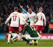 18 November 2019; Jens Stryger Larsen celebrates with, Mathias Jørgensen of Denmark, while Ciaran Clark of Republic of Ireland is dejected during the UEFA EURO2020 Qualifier match between Republic of Ireland and Denmark at the Aviva Stadium in Dublin. Photo by Harry Murphy/Sportsfile