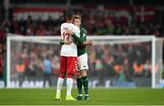 18 November 2019; James McClean of Republic of Ireland and Mathias Jørgensen of Denmark embrace following the UEFA EURO2020 Qualifier match between Republic of Ireland and Denmark at the Aviva Stadium in Dublin. Photo by Seb Daly/Sportsfile