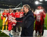 18 November 2019; Denmark manager Åge Hareide celebrates after the UEFA EURO2020 Qualifier match between Republic of Ireland and Denmark at the Aviva Stadium in Dublin. Photo by Eóin Noonan/Sportsfile