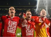 18 November 2019; Denmark players, from left, Yussuf Poulsen, Christian Eriksen, and Kasper Schmeichel celebrate after the UEFA EURO2020 Qualifier match between Republic of Ireland and Denmark at the Aviva Stadium in Dublin. Photo by Eóin Noonan/Sportsfile