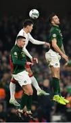 18 November 2019; Andreas Christensen of Denmark in action against Ciaran Clark, left, and Shane Duffy of Republic of Ireland during the UEFA EURO2020 Qualifier match between Republic of Ireland and Denmark at the Aviva Stadium in Dublin. Photo by Seb Daly/Sportsfile