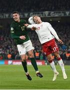18 November 2019; Ciaran Clark of Republic of Ireland in action against Jens Stryger Larsen of Denmark during the UEFA EURO2020 Qualifier match between Republic of Ireland and Denmark at the Aviva Stadium in Dublin. Photo by Stephen McCarthy/Sportsfile