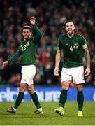 18 November 2019; Shane Duffy of Republic of Ireland, right, celebrates with Callum Robinson after Matt Doherty scored their side's first goal during the UEFA EURO2020 Qualifier match between Republic of Ireland and Denmark at the Aviva Stadium in Dublin. Photo by Harry Murphy/Sportsfile