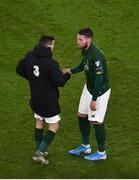 18 November 2019; Matt Doherty of Republic of Ireland, right, is consoled by team-mate Josh Cullen after the UEFA EURO2020 Qualifier match between Republic of Ireland and Denmark at the Aviva Stadium in Dublin. Photo by Ben McShane/Sportsfile