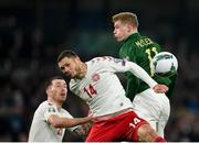18 November 2019; Henrik Dalsgaard of Denmark in action against James McClean of Republic of Ireland during the UEFA EURO2020 Qualifier match between Republic of Ireland and Denmark at the Aviva Stadium in Dublin. Photo by Seb Daly/Sportsfile